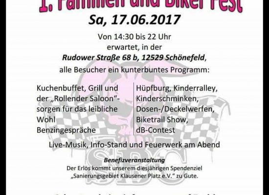 Plakat für das 1. Familien- & Bikerfest der Streetbunnycrew Berlin-Brandenburg.